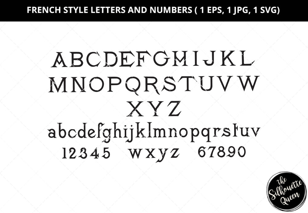 French Style Letters and Numbers Silhouette Vector