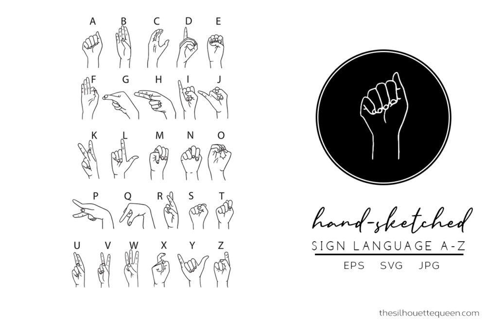 Sign Language Silhouette Vector