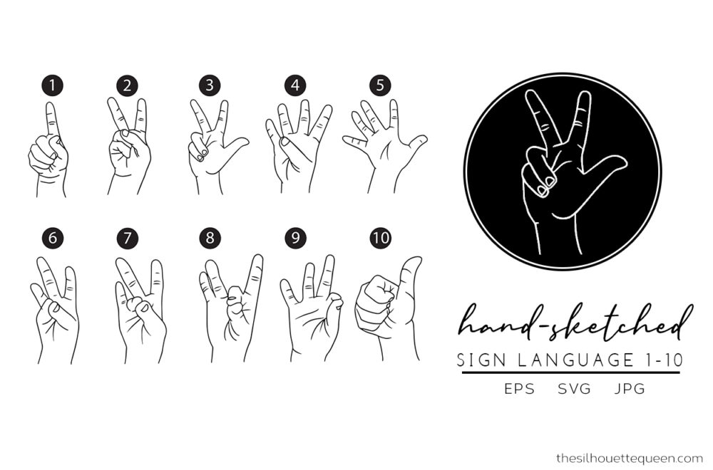 Sign Language 1-10 Silhouette Vector