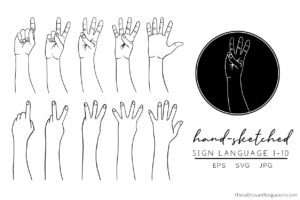 Sign Language 1-10 Full Hand Silhouette Vector