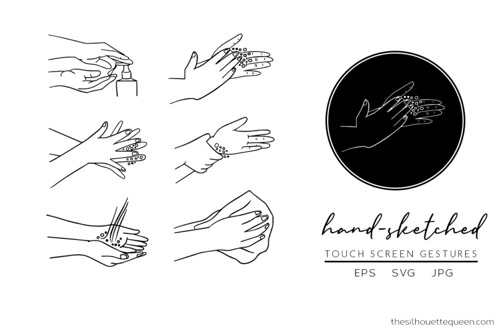 Washing Hands Silhouette Vector