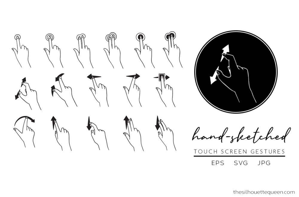 Touch Screen Gesture Silhouette Vector